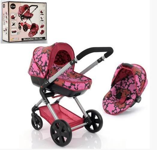 Игрушечная коляска-трансформер прогулочная и люлька для пупсов D-89650, металл, розовая