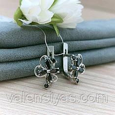Серебряные серьги с черными камнями