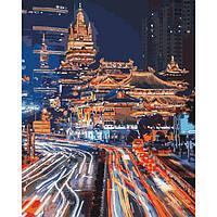 Картина рисование по номерам Идейка Нічний Шанхай 2 40х50см КНО3543 набор для росписи, краски, кисти, холст