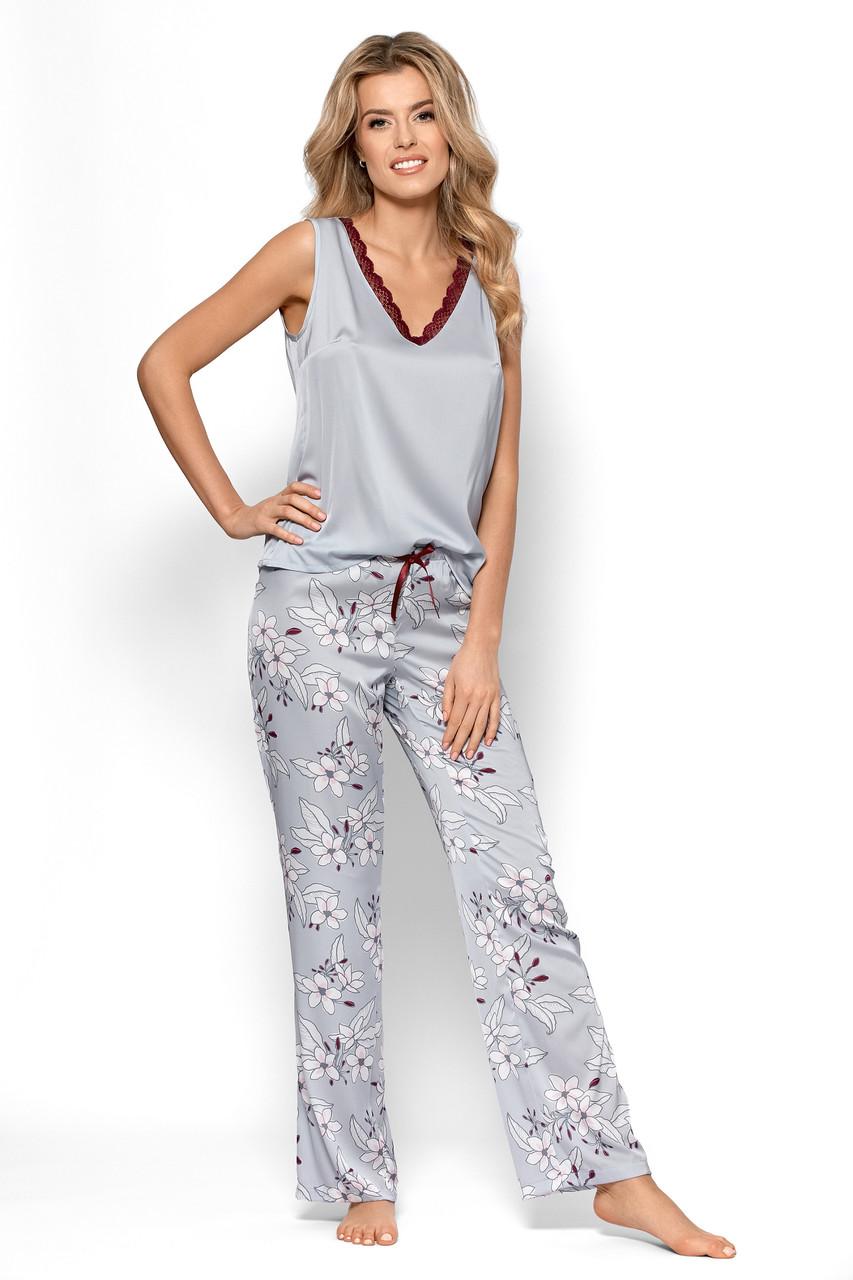 Женская атласная пижама майка + брюки Nipplex Aurora, M, сірий