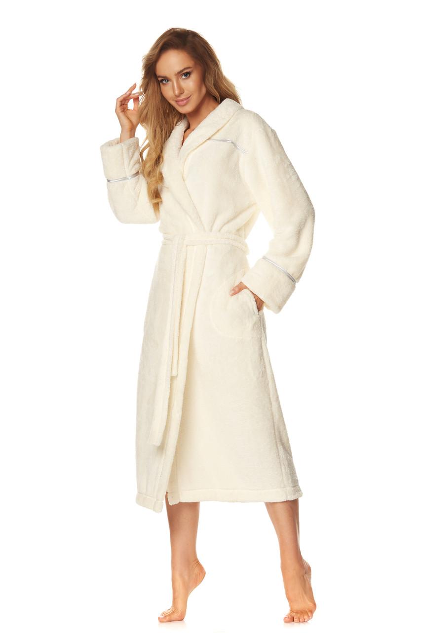 Длинный плюшевый женский халат L & L 2084, 2XL, молочний