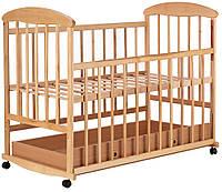 Кроватка детская Наталка ОСЯ с ящиком ольха светлая без лака