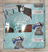 Комплект постельный детский 3 предмета,простынь на резинке , цвета арт 292 .  голубой Мишки Тедди