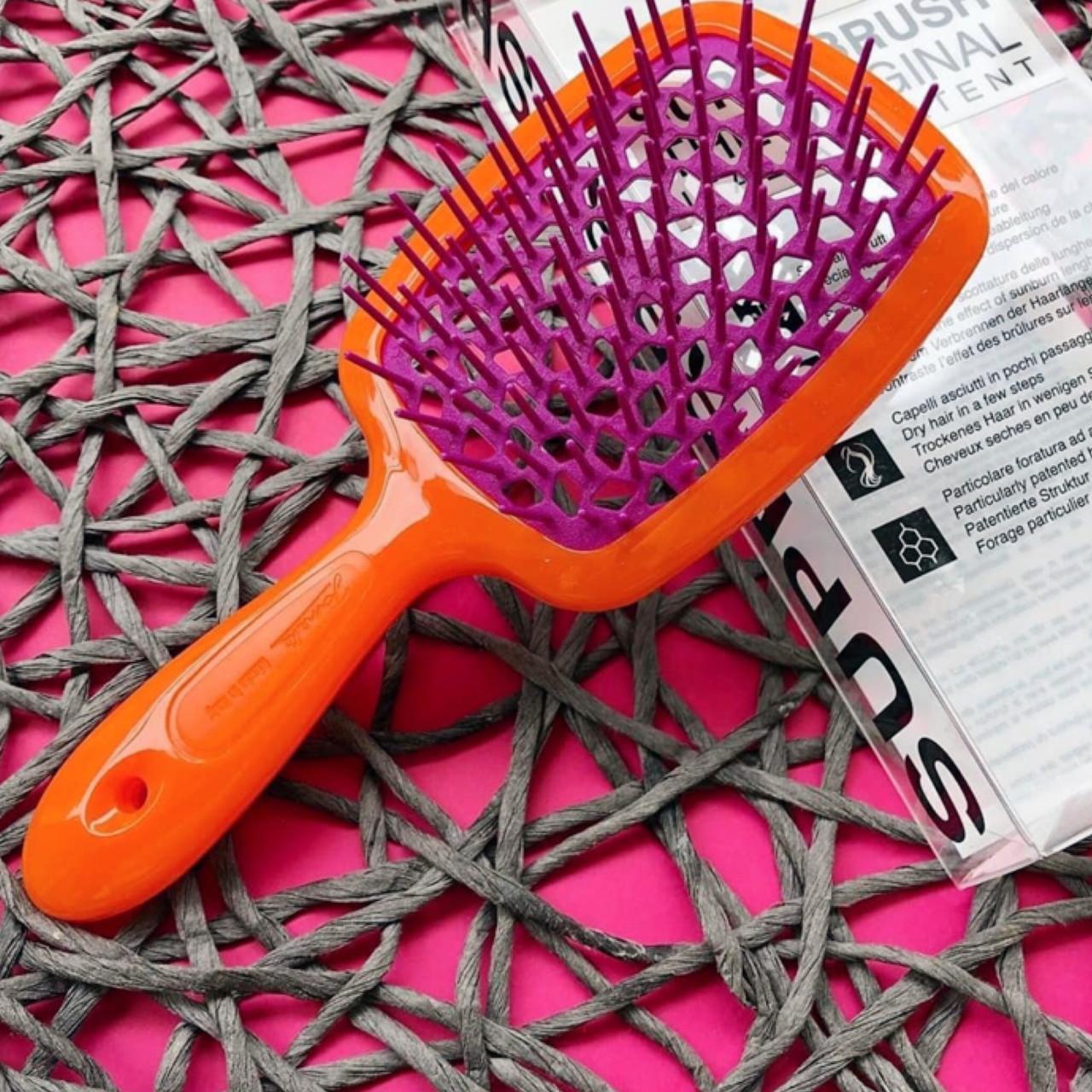 Расческа для волос Janeke 1830 Superbrush, оранжевая с фиолетовым