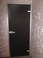 Стеклянные двери с матовым тонированным бронзовым или серым стеклом 870х2040мм
