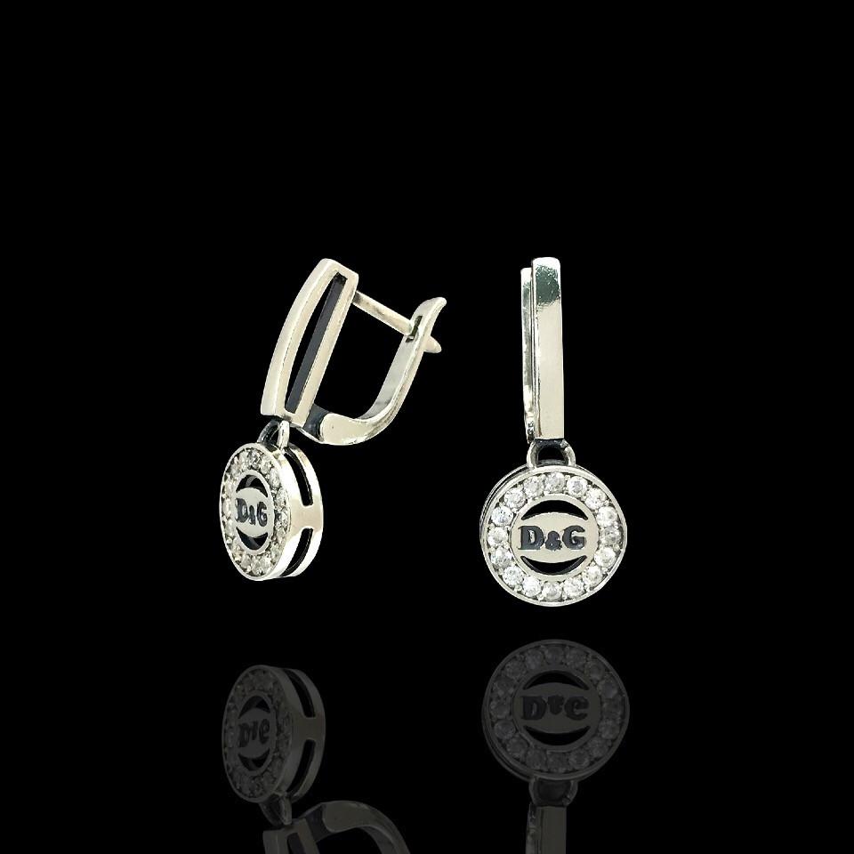 Серебряные серьги-подвески D&G украинского производства