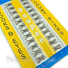 Крючки пришивные серебро SIZE 0, 1 см