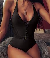 Сдельный купальник  женский с поясом черный S/M/L