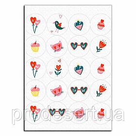 Капкейки-5 см LOVE вафельная картинка