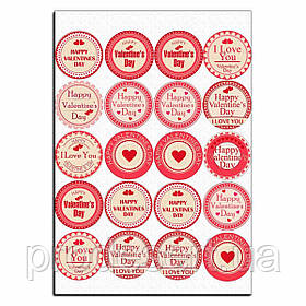 Капкейки-5 см Валентина значки вафельная картинка
