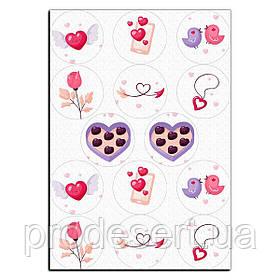 Капкейки-6 см Валентина конфетки вафельная картинка