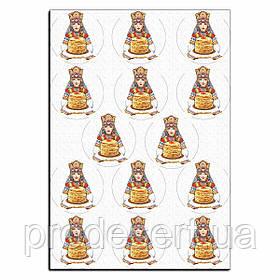 Капкейки-6 см Барышня и блины вафельная картинка