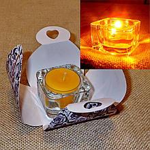 Стеклянный подсвечник с прозрачной воскововой чайной свечой 24г в коробке Фиолетовая Роза