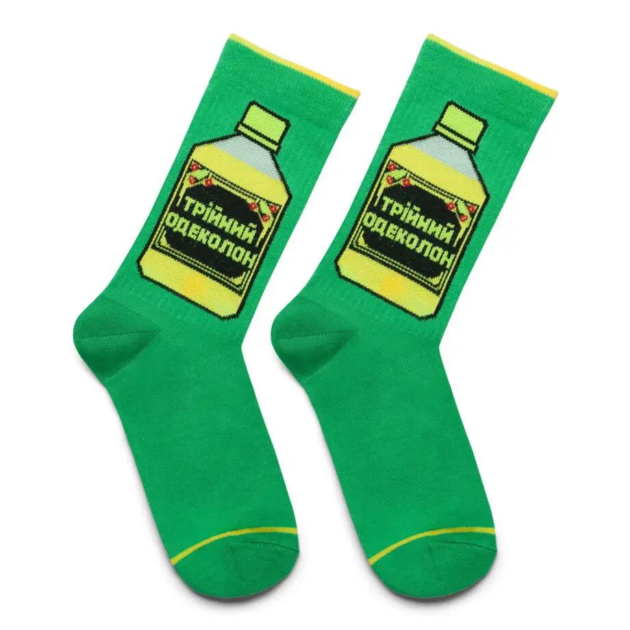 """Шкарпетки Дід Носкарь чоловічі 41-45 """"Потрійний одеколон"""" зелені"""