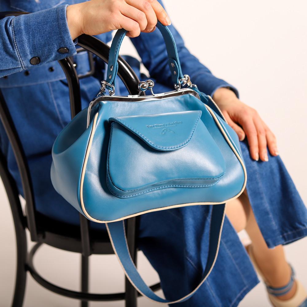 Сумка-ридикюль с накладным карманом, цвет синий