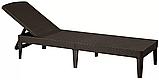 Шезлонг лежак Allibert by Keter Jaipur Sun Lounger Brown ( коричневый ) искусственный ротанг, фото 10