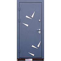 Двери входные Алькор Серый,вставки из нержавеющей стали / Бетон кремовый