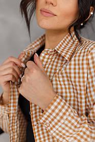 Стильная бежевая рубашка в клетку с длинным рукавом свободного кроя в 2 цветах в размере S, M и L.