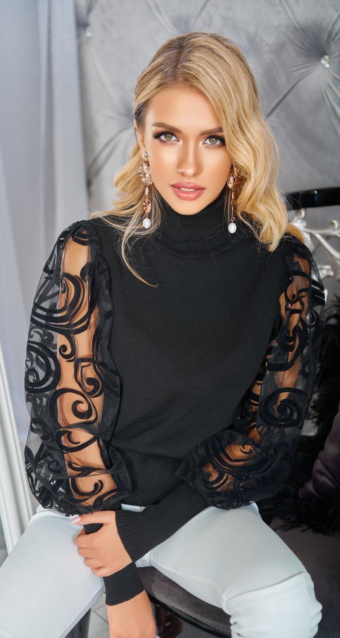 Шикарний жіночий чорний светр