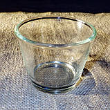 Круглый стеклянный подсвечник в комплекте с прозрачной восковой чайной свечой, фото 2