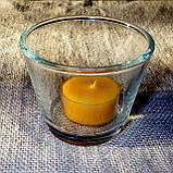 Круглый стеклянный подсвечник в комплекте с прозрачной восковой чайной свечой, фото 3
