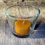 Круглый стеклянный подсвечник в комплекте с прозрачной восковой чайной свечой, фото 4