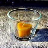 Круглый стеклянный подсвечник в комплекте с прозрачной восковой чайной свечой, фото 6