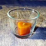 Круглый стеклянный подсвечник в комплекте с прозрачной восковой чайной свечой, фото 7