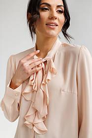 Элегантная нарядная воздушная блуза с воротником-жабо в нежных расцветках в двух размерах S/M и L/XL.
