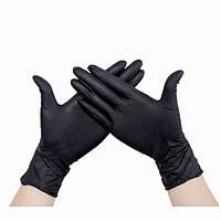 Чорні рукавички нітрилові нестерильні неопудрені для майстрів 100 шт/уп. розмір L, фото 1