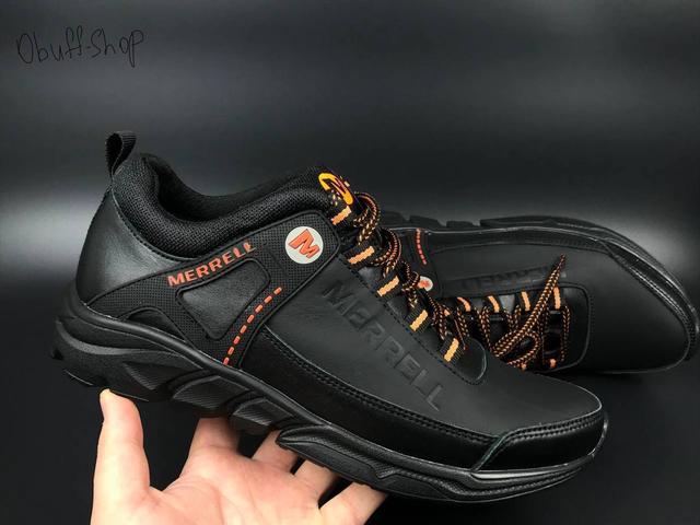 Американский обувной бренд MERRELL, Черные кожаные кроссовки Merrell