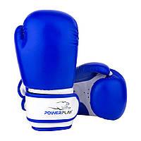 Боксерські рукавиці PowerPlay 3004 JR Синьо-білі 8 унцій Боксерские перчатки (SV)