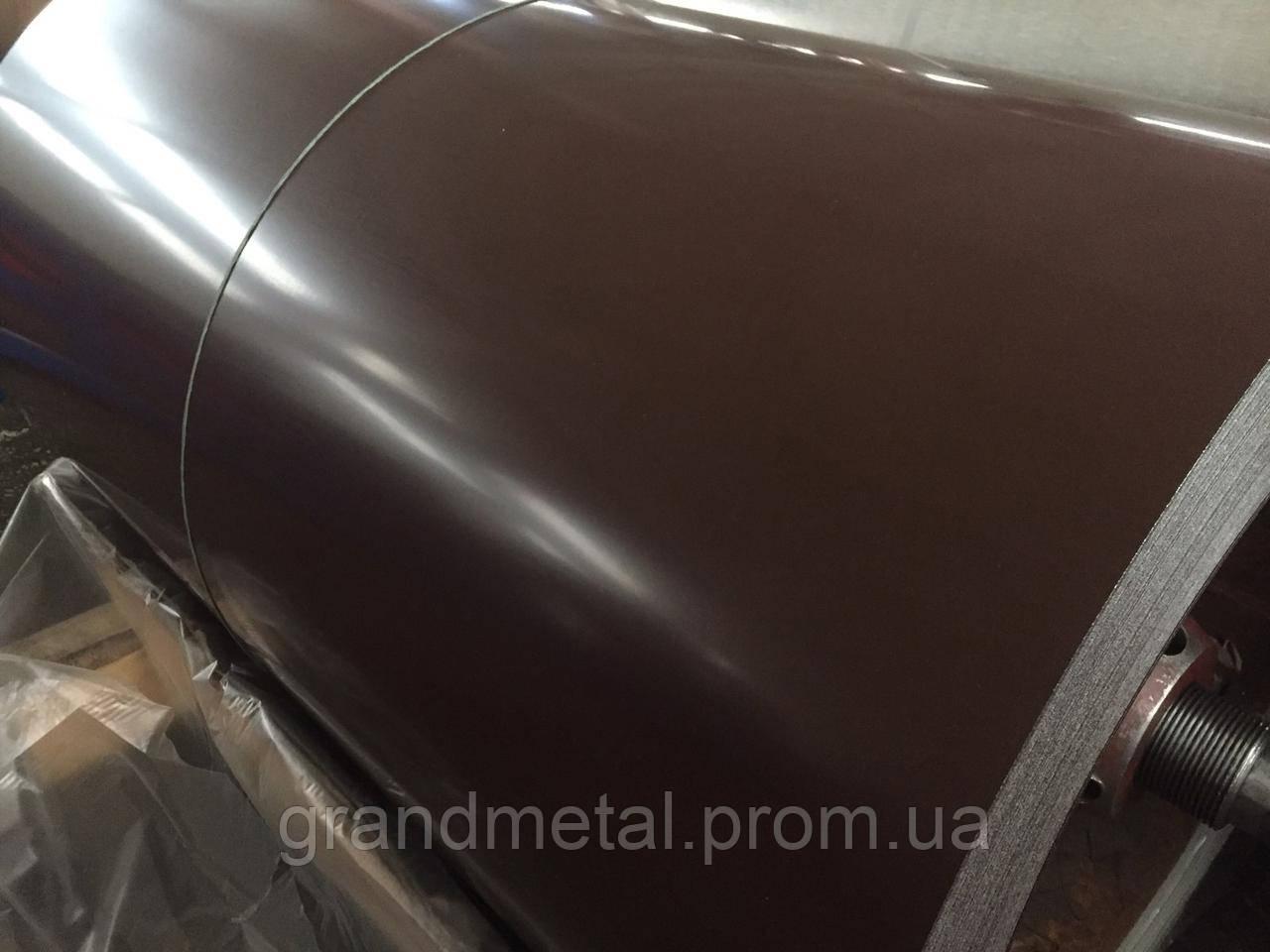 Гладкий лист коричневый РАЛ 8017, полимерный рулон коричневого цвета RAL 8017