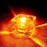 Квадратный стеклянный подсвечник в комплекте с прозрачной восковой чайной свечой, фото 2