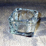 Квадратный стеклянный подсвечник в комплекте с прозрачной восковой чайной свечой, фото 5