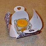 Квадратный стеклянный подсвечник в комплекте с прозрачной восковой чайной свечой, фото 9