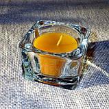 Квадратный стеклянный подсвечник в комплекте с прозрачной восковой чайной свечой, фото 6