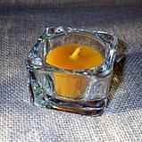 Квадратный стеклянный подсвечник в комплекте с прозрачной восковой чайной свечой, фото 7