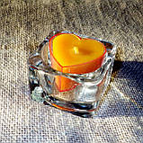 Квадратный стеклянный подсвечник в комплекте с прозрачной восковой чайной свечой, фото 8