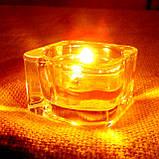 Квадратный стеклянный подсвечник в комплекте с прозрачной восковой чайной свечой, фото 3