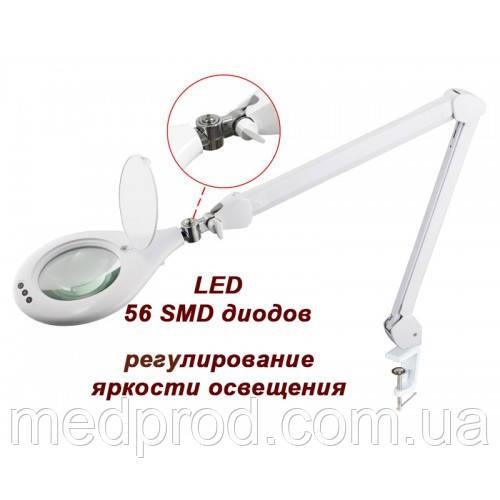 Лампа-лупа 3D LED на струбцине с регулировкой яркости