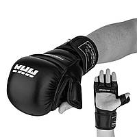 Рукавички для MMA PowerPlay 3026 Чорні S (SV)