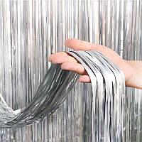 Шторка занавес из фольги серебро сатин 1х2 метра