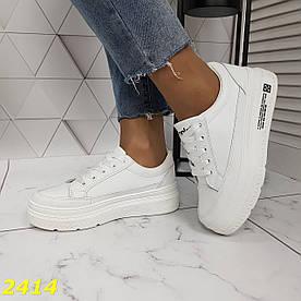 Кросівки кріпери білі на високій платформі