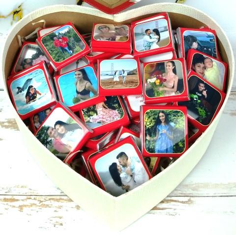 Шоколадний подарунковий набір з вашим фото та текстом на 50 шок. Подарунок на День народження, 14 лютого,8 Березня