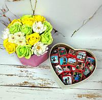 Шоколадный подарочный набор с вашим фото и вашим текстом на 50 шоколадок. Подарок на День рождения, 14 февраля