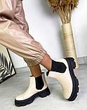 Женские ботинки Челси бежевая кожа на тракторной подошве демисезонные, фото 7
