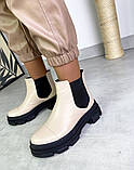 Женские ботинки Челси бежевая кожа на тракторной подошве демисезонные, фото 8