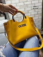 Женская желтая сумка через плечо из кожзама