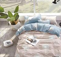 Комплект семейного постельного белья с растениями Летний одуванчик (серо-голубое) качественное хлопковое